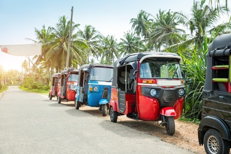 76537448 - tuktuk taxi on road of sri lanka ceylon travel car